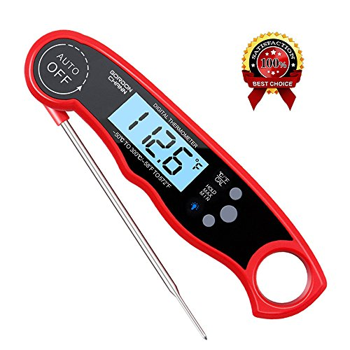 Large Backlit Lcd (Instant Read Meat Thermometer Waterproof Thermometer Digital Themometer with Large Backlit LCD Calibration and Backlight Functions Thermometer for BBQ. Meat. Tea. Milk. Soup. (GordonChann red))