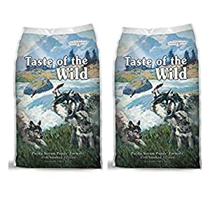 Taste of the Wild 2 Pack Pacific Stream Puppy Dry Dog food. (2) - 5 lb. Bags with Smoked Salmon. Grain Free Dog Food, 10 Lbs. Total