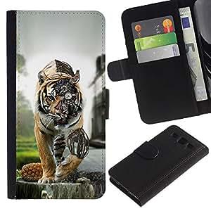 JackGot ( Steam Punk Tigre ) Samsung Galaxy S3 III i9300 i747 la tarjeta de Crédito Slots PU Funda de cuero Monedero caso cubierta de piel