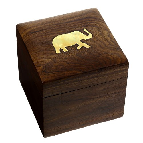 Indian Elephant Jewelry Holder - 4 x 4 x 3.5 Inch Small Wood Box - Jewelry Boxes for Necklaces - Gifts by ShalinIndia