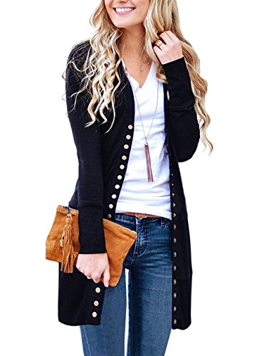 (MEROKEETY Women's Long Sleeve Snap Button Down Solid Color Knit Ribbed Neckline Cardigans Black)