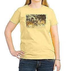 CafePress - Wolf Pack Ash Grey T-Shirt - Womens Cotton T-Shirt, Crew Neck, Comfortable & Soft Classic Tee