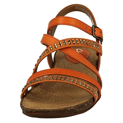 CLARKS Clarks Womens Sandal Autumn Peace Orange Leather 5.5