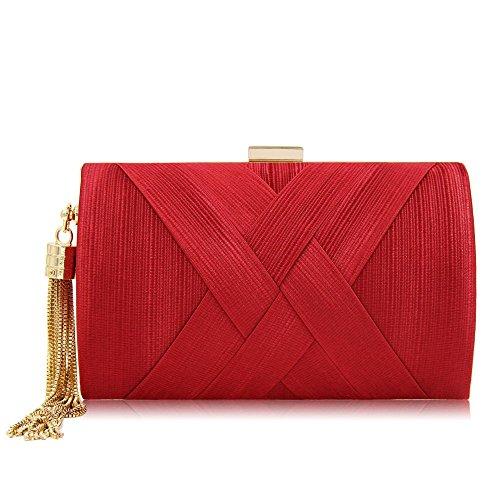 gland élégant mariée soirée mariage sac soie à sacs main Femmes en Red embrayage pendentif F51BRqBwA