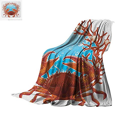 Seashells Throw Blanket Crab Spiral Seashells and Red Coral Frame Aquarium Claws Nature Print Artwork Image 60