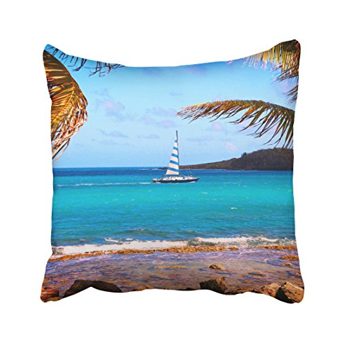 Pakaku Throw Pillows Covers For Couch/Bed 20 x 20 inch,Tropical Waters And Sailboat Home Sofa Cushion Cover Pillowcase Gift Decorative Hidden Zipper Design Cotton And Polyester Blended Soft (Caribbean Pillowcase Art)