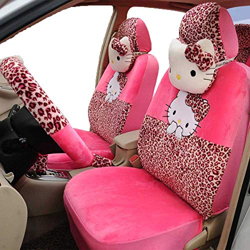 rmrp88 1 Set Hello Kitty Automotive Car Seat Cover Full Set Car Steering Wheel Cover Rear View Mirror Cover -
