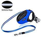 Retractable Dog Leash Heavy Duty Reflective Ribbon Dog Walking Leash for Large Medium Small Dogs Up to 110 lbs, One Button Brake & Lock, Bone with Roll of Bags,16.4ft /5M