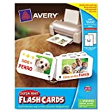 Avery 04753 Printable Flash Cards, 8 Divider Tabs, 3 x 5, White, 4 Cards-Sheet, 100-Pack
