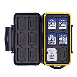 HDE Waterproof Memory Card Travel Case for 12 Micro & Standard SD Card Storage Holder 100 AIR TIGHT - Case snaps tightly to ensure your memory cards are safe from dirt, scratches and water RUBBER LINING - Molded rubber interior lining, durable poly-carbonate resin exterior with a weather-resistant seal to keep out water, dust, and debris with a shockproof shape HIGH CAPACITY- Stores up to 12 micro and 12 standard SD cards | 24 total card capacity