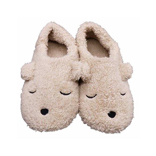 Zapatillas Casa para de Interior Cartoon Felpa con Beige Women Antideslizantes de Animal Felpa Oso Invierno Fuzzy Zapatillas iHomey de wxnA6P1O1