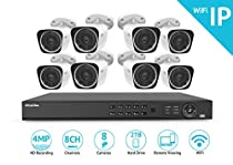 LaView LVKNW986BT8-T2 1080P WiFi 8-Channel 8-Camera (2x 4MP Bullet) Security Camera System with Pre-Installed 2TB Hard Drive