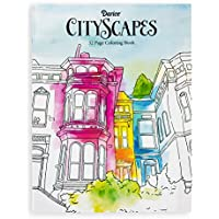 Darice Libro de Colorear para Adultos, Tema de paisajes urbanos