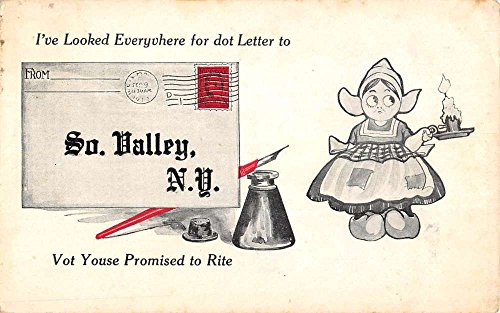 South Valley New York Dutch Child Girl Candle Antique Postcard -