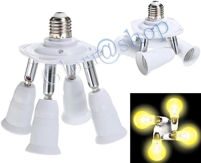 FLYFLY 3 in 1 Portalampada Splitter E27 a E27 Adattatore portalampada Leggero Lampada Presa a Bulbo Per Lampadine a LED con 360 gradi Regolabile