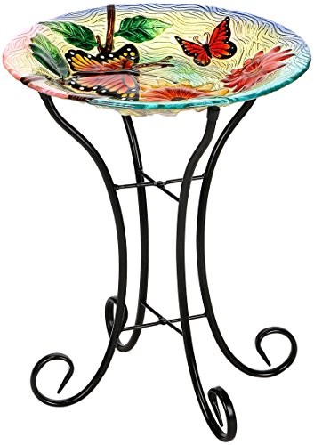 Butterfly Birdbath - Winsome House Butterflies with Flowers Bird Bath with Stand