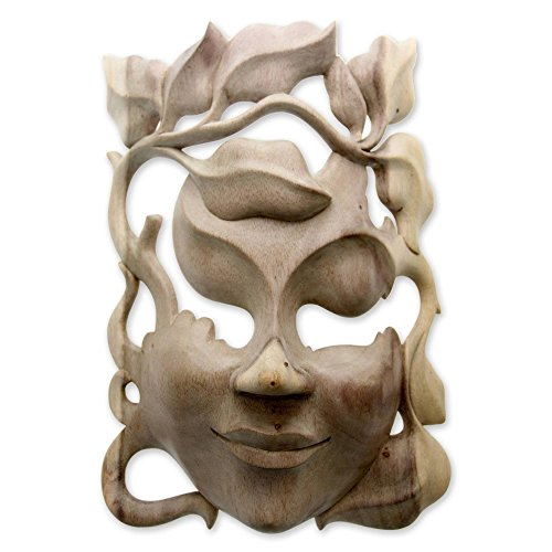 NOVICA Decorative Leaf And Tree Hibiscus Wood Mask, Beige, 'Quirky' by NOVICA