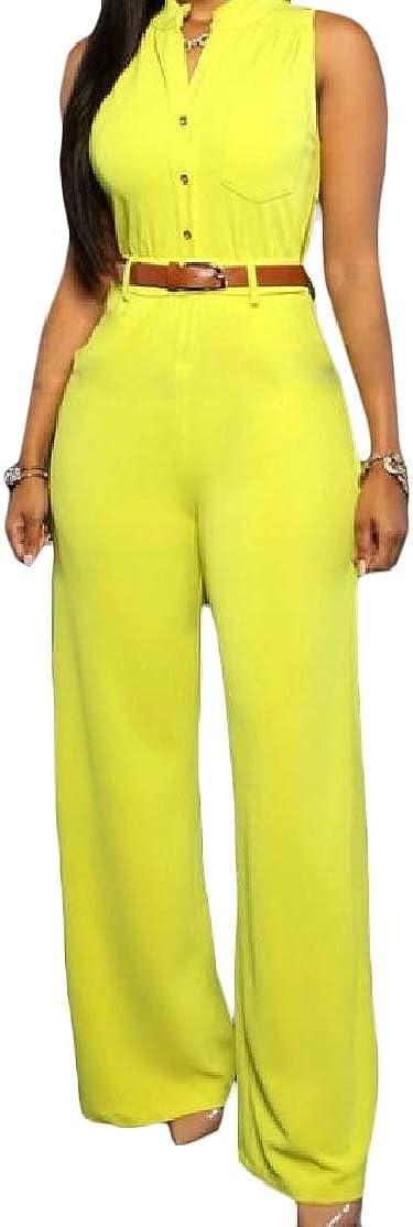 Cromoncent Womens Waistband Slim Fit Sleeveless Round Neck Pants Jumpsuit