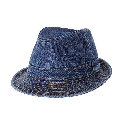 WITHMOONS Denim Fedora Hat Plain Stitch Washed Short Brim DW6646 (Blue, (Denim Cowboy Hat)