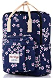 HotStyle Personalized Flora Waterproof Backpack for College Girls - Fits 14 inch Laptop - Navy
