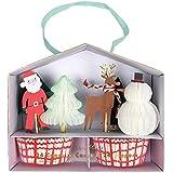 Weihnachten Cupcake Set - Muffinförmchen in Rot/Weiß und Dekopicker von Meri Meri