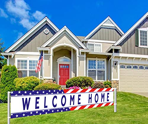 Colormoon Welcome Home Banner Military Army Theme Bunting Banner Homecoming Deployment Return Party Sign Outdoor Indoor (9.8 x 1.5 -