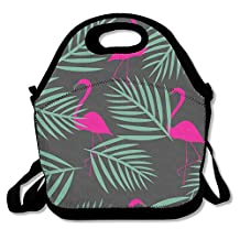 The Green Leaf Flamingo Funny Lunch Bag Insulated Lunch Tote Bags Bento Cooler Bag