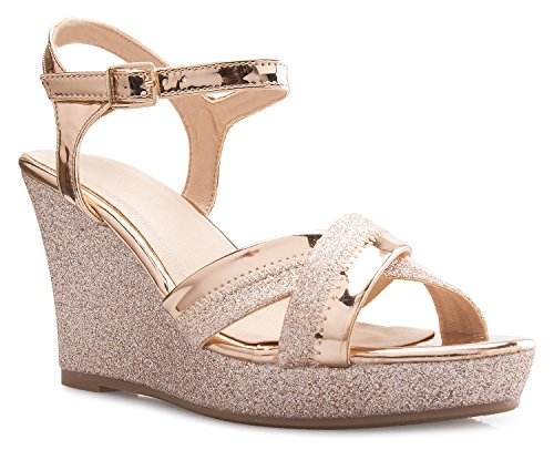 (OLIVIA K Women's Sexy Strappy Platform Wedge Glitter Sandals Rose Gold )