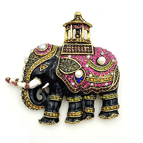 DREAMLANDSALES Fancy Vintage Black Enamel Maharaja Canopy Elephant Brooch Gold Tone
