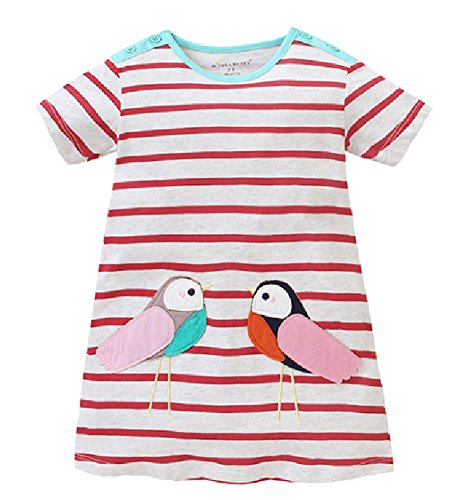 HILEELANG Toddler Girls Summer Cotton Short Sleeves Applique Casual Striped Dresses by HILEELANG (Image #6)