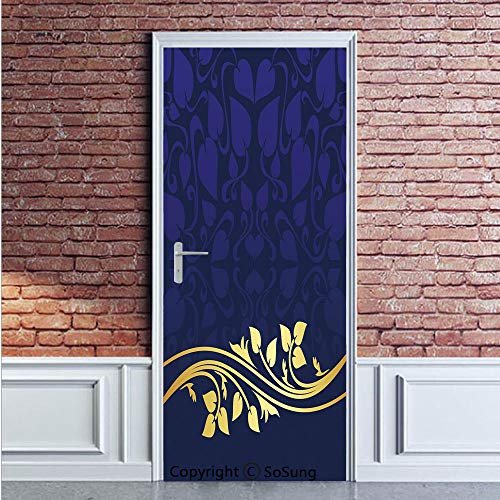 Navy Blue Decor Door Wall Mural Wallpaper Stickers,Romantic Royal Leaf Pattern with Golden Floral Branch with Leaves,Vinyl Removable 3D Decals 35.4x78.7/2 Pieces set,for Home Decor Dark Blue and Gold