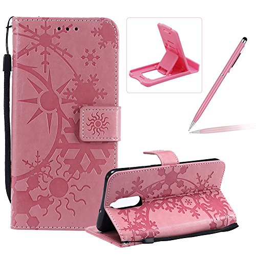 Herzzer Strap Leather Case for Huawei Mate 10 Lite,Wallet Leather Case for Huawei Mate 10 Lite, Premium Stylish Creative Pink Art Painted Magnetic Flip Stand Case with Soft ()