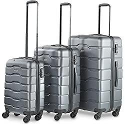 VonHaus Premium 3 Piece Lightweight Luggage Set – Hardshell with TSA Integrated Lock, Spinner Rolling Wheels - Gray