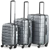 VonHaus Premium 3 Piece Lightweight Luggage Set – Gray Hardshell Travel Suitcase with TSA Integrated Lock, 4 Double Spinner Rolling Wheels - Cabin Bag, Medium and Large Case