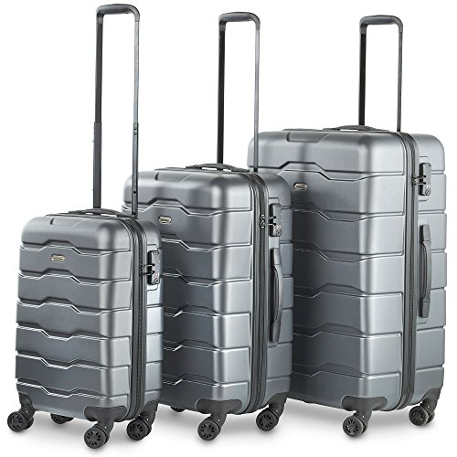 VonHaus Premium Gray 3 Piece Lightweight Luggage Set – Hardshell Travel Suitcase with TSA Integrated Lock, 4 Double Spinner Wheels - Cabin Bag, Medium and Large Case by VonHaus