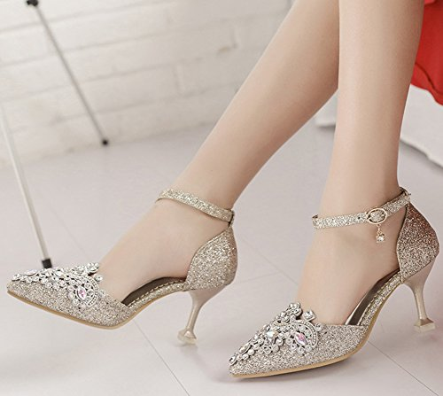 IDIFU Womens Glitter Pointed Toe Mid Stiletto Heeled Ankle Strap Pumps Shoes With Rhinestones Gold Yi0tRnMbb