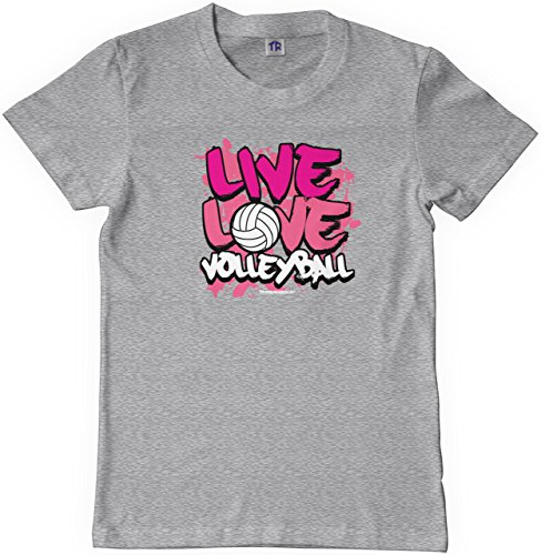 (Threadrock Big Girls' Live Love Volleyball Youth T-Shirt L Sport Gray)