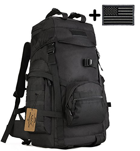 ArcEnCiel 60L Outdoor Military Tactical Hiking Backpack with Patch - Rain Cover Included from ArcEnCiel