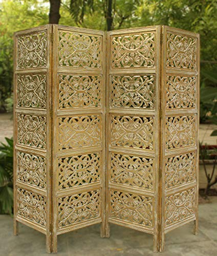 (Cotton Craft Rajasthan- Antique Gold 4 Panel Handcrafted Wood Room Divider Screen 72x80, Intricately Carved on Both Sides - Reversible- Hides Clutter, Adds Décor, Divides The Room (Antique Gold))