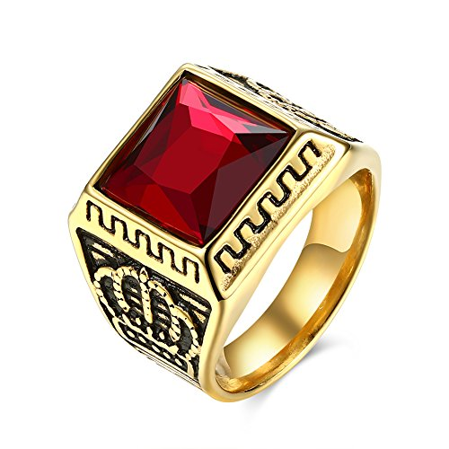 ROBBIE Jewelry Men's Fashion Stainless Steel Ruby Stone Crown Pattern Ring Wedding Band Engagement Ring