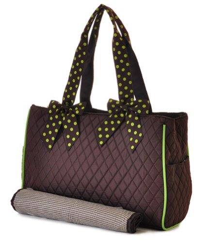 Quilted Monogram Ready Solid Print Brown And Lime Diaper Bag With Changing Pad