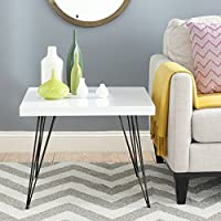 Safavieh Home Collection Wolcott Mid-Century Modern White and Black Coffee Table