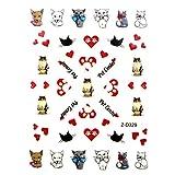 Born Pretty 1 Sheet Cute Cat 3D Nail Art Stickers Kitty Footprint Nail Art Stickers Decals #Z-D329