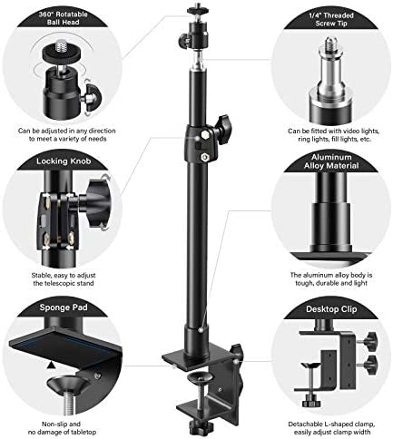 """PIXEL DESK CAMERA MOUNT STAND, 12.9-22 INCH TABLETOP C CLAMP MOUNT STAND, ADJUSTABLE ALUMINUM LIGHT STAND WITH 360° ROTATABLE BALL HEAD, STANDARD 1/4"""" SCREW TIP FOR DSLR CAMERA/RING LIGHT/VIDEO LIGHT"""