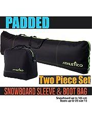 Athletico - Bolsa de snowboard y maletero acolchada de dos piezas para almacenar y transportar snowboard de hasta 165 cm y botas de hasta la talla 13 incluye 1 bolsa acolchada para snowboard y 1 bolsa acolchada para maletero
