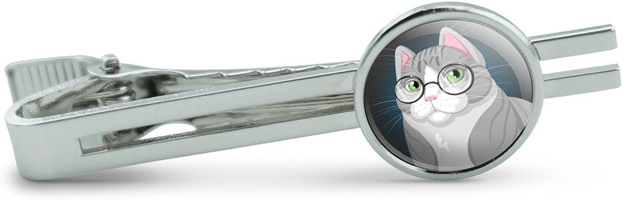Sir Cat Wearing Glasses Mens Tie Clip Tack Bar