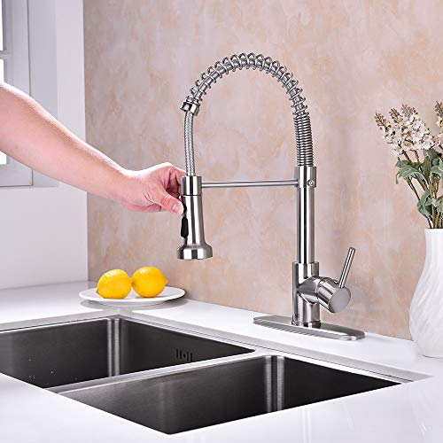 Pirooso Commercial Single Handle Spring Kitchen Sink Faucet, Lead Solid Brass Kitchen Fauce, Pull Down with Three Function Sprayer Spring Kitchen Sink Faucet, Brushed Nickel