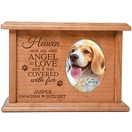 LifeSong Milestones Cremation Urns for Pets SMALL Memorial Keepsake box for Dogs and Cats, personalized Urn for pet ashes Heaven sent my own ANGEL TO LOVE SMALL portion of ashes holds 2x3 photo