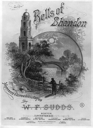 HistoricalFindings Photo: Photo ONLY of Sheet Music Cover,Bells of Shandon,c1882,Fence,Bell,Bridge ()