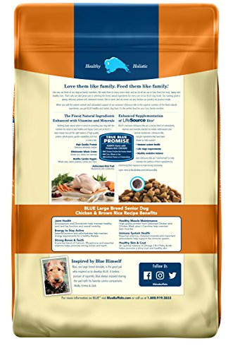 Blue Buffalo Life Protection Formula Large Breed Senior Dog Food - Natural Dry Dog Food for Senior Dogs - Chicken and Brown Rice - 30 lb. Bag